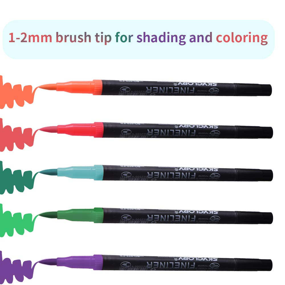 Brush Tips /& Colored Fine Point Pen Set for Lettering Writing Coloring Drawing,Planner Art Supplier,24 Colors Dual Markers Brush Pen