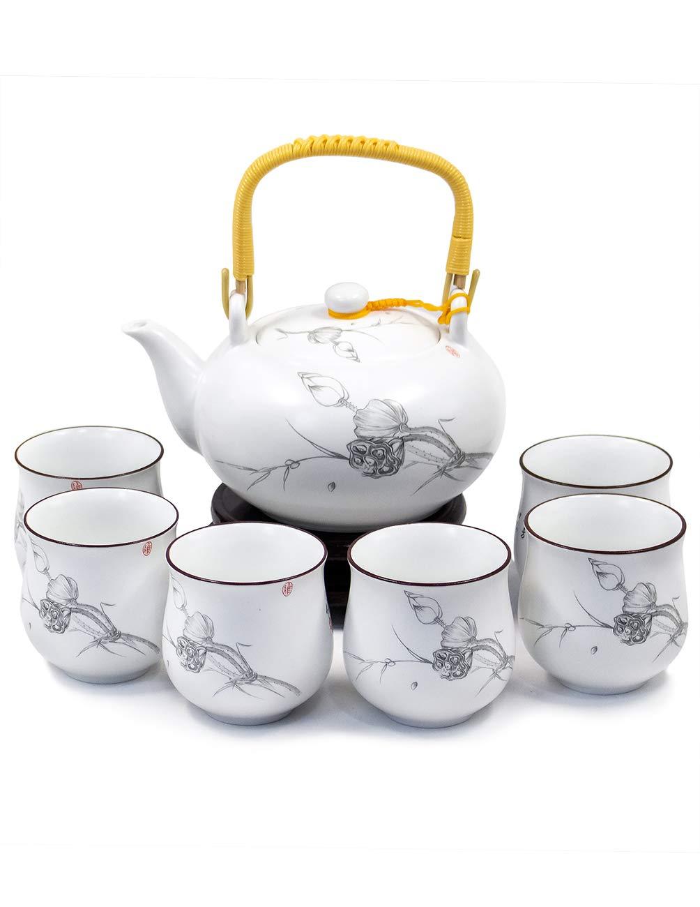 Dahlia Handpainted Porcelain Tea Gift Set: Teapot+ 6 Teacups in Gift Box, Purity Lotus