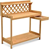 Go2buy Wood Potting Bench Outdoor Garden Planting Work Station Table Stand  Natural Finish