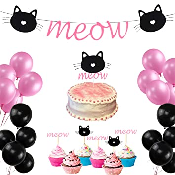Cats Birthday Party Favors Kit Meow Banner Cake Toppers For Cat Decorations Kitten