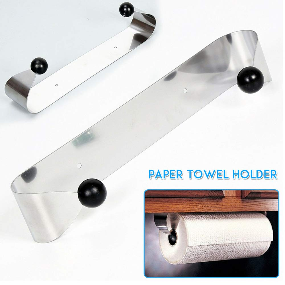 Lypum Kitchen Roll Holder Practical Paper Towel Dispenser Under Cabinet Wall Mounted Stainless-Steel Tissue Hanger Towel Rack