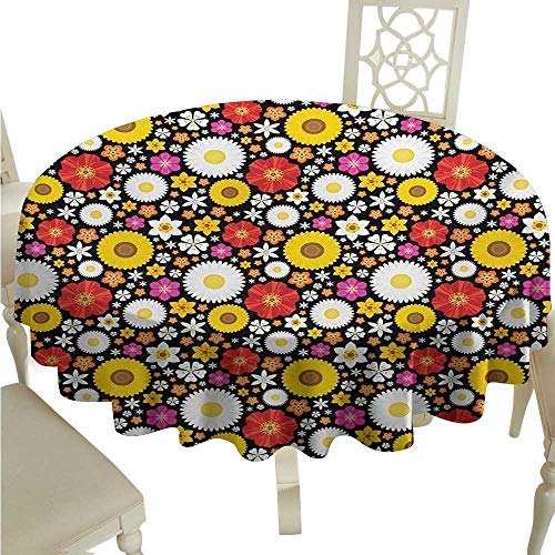 (White Round Tablecloth Floral,Colorful Spring Theme with Sunflowers Daisy Chamomile Petals Summer Bluebells Motif,Multicolor D50,for Accent Table )