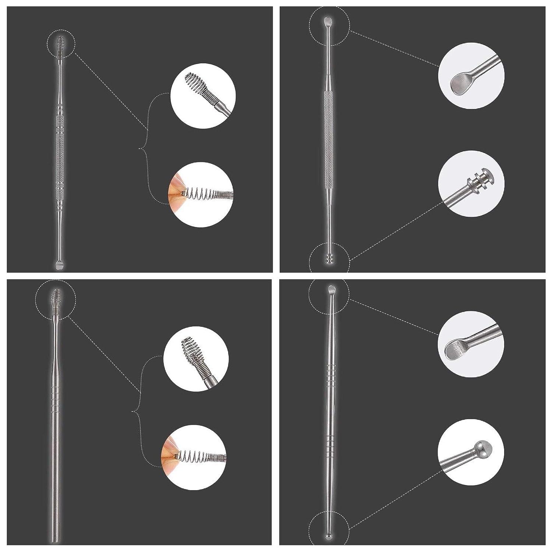 Ohrenreiniger Set,McNory Ohrreiniger aus Edelstahl mit Aufbewahrungskiste,Entfernung von Ohrenschmalz und Reinigung der Ohren,Einfach zu s/äubern und zu sterilisieren,5 set Edelstahl Ohrreiniger