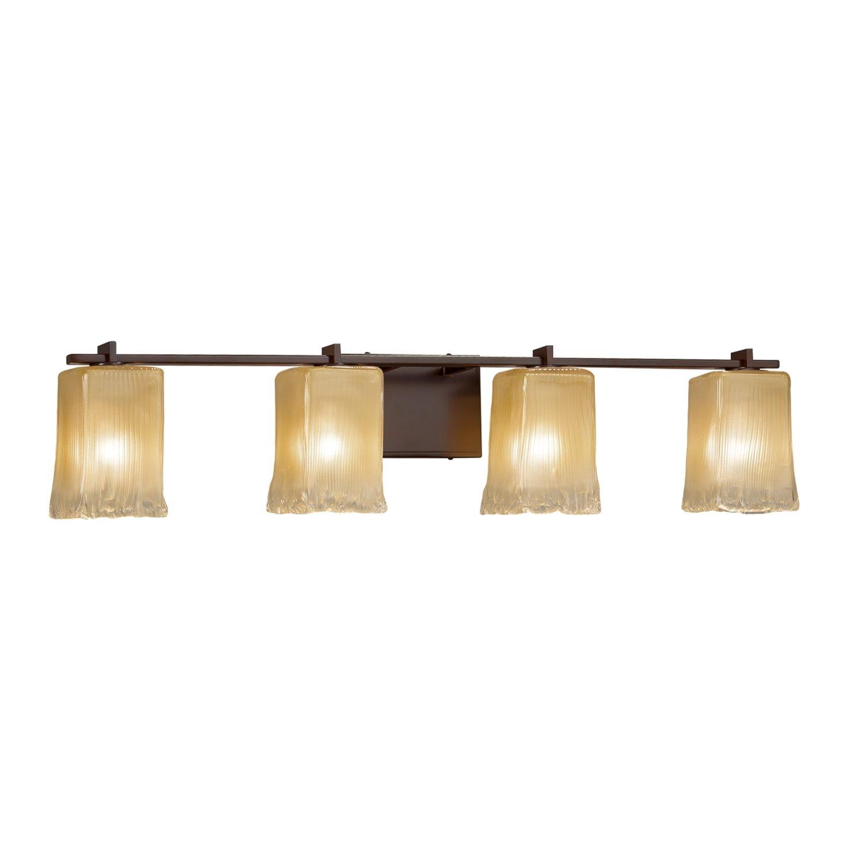 LED Square with Rippled Rim Venetian Glass Shade in Gold with Clear Rim Era 4-Light Bath Bar Veneto Luce Dark Bronze Finish