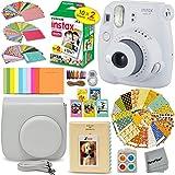 FujiFilm Instax Mini 9 Instant Camera SMOKEY WHITE + Fuji INSTAX Film (20 Sheets) + Custom Camera Case + Instax Album + 60 Colorful Stickers + 20 EMOJI stickers + Fun Frames + 4 Colored Filters + MORE