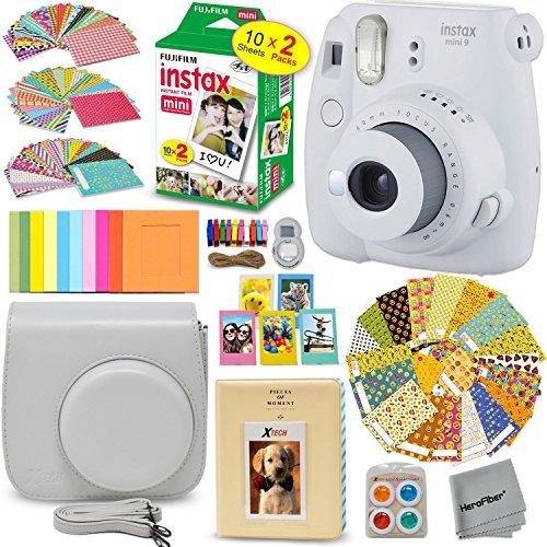 FujiFilm Instax Mini 9 Instant Camera SMOKEY WHITE + EMOJI Film stickers + Fuji INSTAX Film (20 Sheets) + Custom Fitted Case + Instax Album + Colorful Stickers + Fun Frames + 4 Colored Filters + MORE