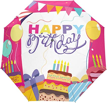 Outstanding U Life Happy Birthday Cake Auto Open Umbrella Sun Rain Umbrella Personalised Birthday Cards Veneteletsinfo