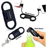 AmaziPro8 iPhone Charge Sync Cable + Bottle Opener + Key Chain, Best lightning key ring, keychain charger great gifts for iphone users, bottle opener keychain (Black)