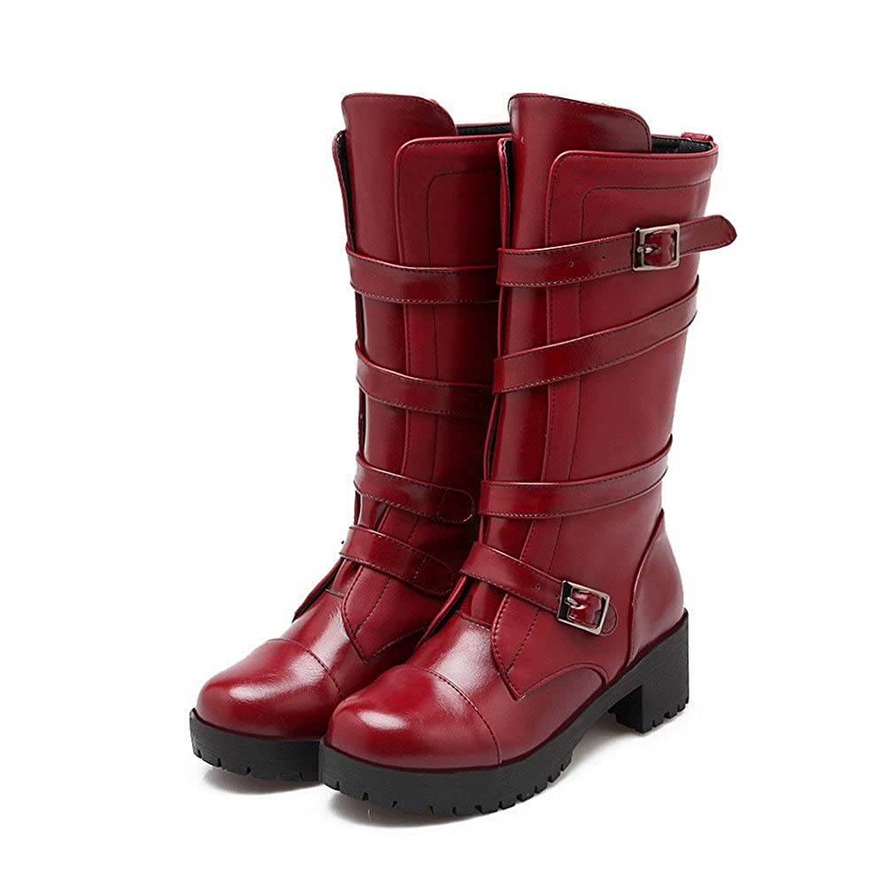 WeenFashion Women's PU Kitten-Heels Round-Toe Boots with Metal Buckles and Platform AQFXY20624