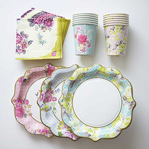 Best Buy! Floral Print Paper Plates Cups Napkins 12 Plates, 12 Cups, 30 Napkins Vintage Flower Tea P...