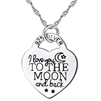 Gluckliy Silver Color Elegant Heart Pendant Necklace for Women Girls Jewelry Accessories Gift