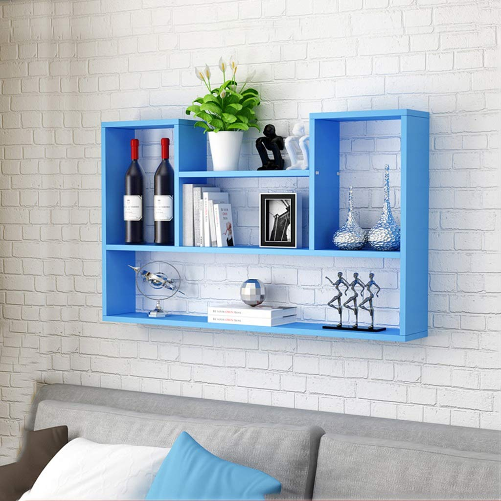 Wall Frame Stylish and Attractive Space Saving Multi-Compartment Wall Shelf Clapboard Wall Nail Art Wall Shop Shop Decoration Wine Rack Wall (Color : Blue)