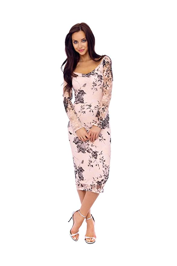 76b8e11584f Goddiva KDK Nude Floral Lace Long Sleeve Dress  Amazon.co.uk  Clothing