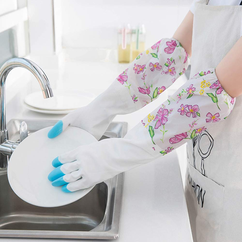 Reusable Silicone Household Cleaning Gloves for Kitchen Magic Washing Up Gloves Bathroom Cleaning and Pet Hair Care.Waterproof Rubber Latex Flannel Washbowl Gloves Kitchen Household Cleaning Glove