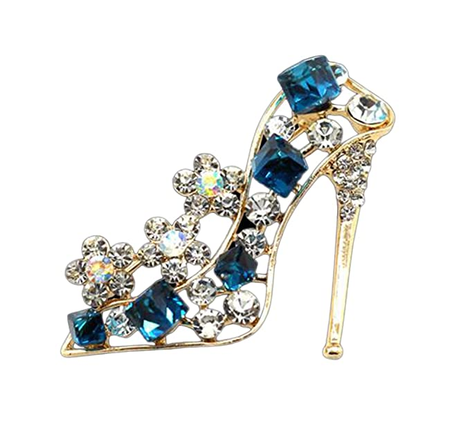 d7922b22582 Sunliy Crystal Shoes Brooch Fashion Crystal Shoes Wedding Bridal Brooch Pin  Rhinestones Corsage Covered Scarves Shawl