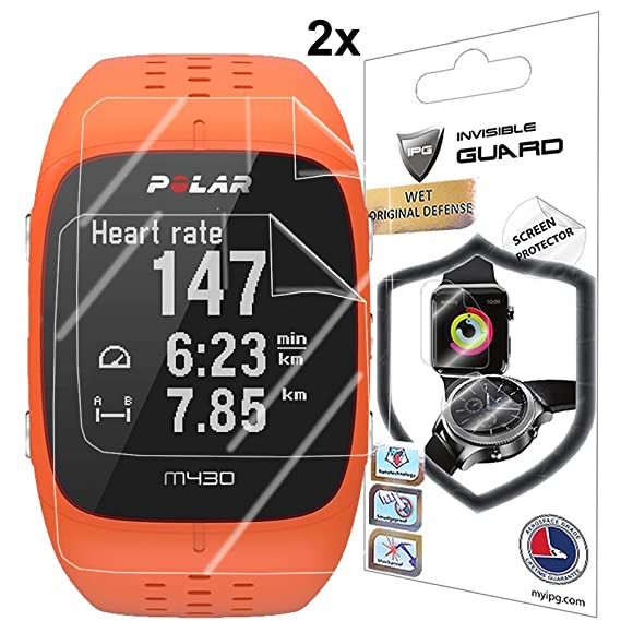 IPG for Polar M430 Fitness Tracker Watch Screen Protector (2 Units)  Invisible Ultra HD Clear Film Anti Scratch Skin Guard -  Smooth/Self-Healing/Bubble