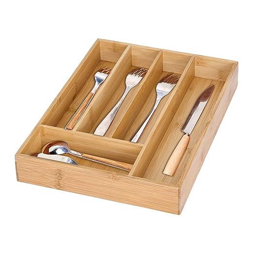 Fullyday - Bandeja de bambú para Cubiertos con 5 ...