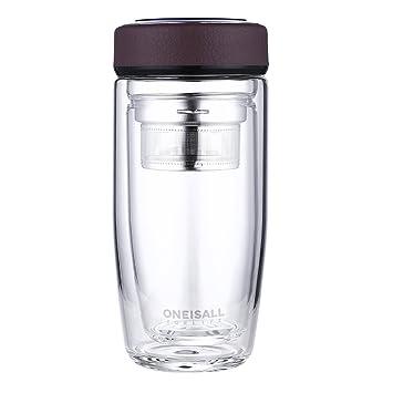 oneisall 380 ml taza de viaje botella de agua de vidrio de borosilicato doble pared té