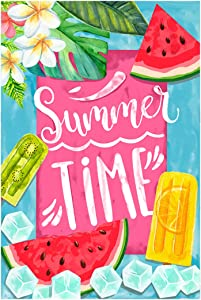 Morigins Summer Time Popsicles and Ice Double Sided House Flag Watermelon Garden Banner 12.5x18 inch