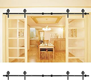 EBTOOLS Sliding Door Track Kit, 8FT Double Door Sliding Barn Door Carbon Steel Closet Hardware Track System Unit Sliding Wood Barn Door Hardware Track Kit Closet