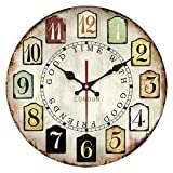 YeYo Wall Clock Retro Style MDF Wood Roman Numerals Silent Vintage Clock for Home Decoration with Different Size for Optional