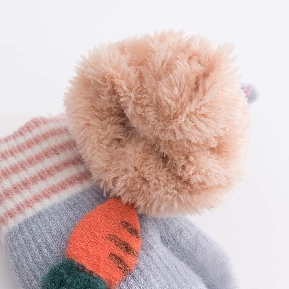 Xinqiao Kids Winter Warm Knit Mitten Fleece Lined Glove for Boys Girls 3-5 Years