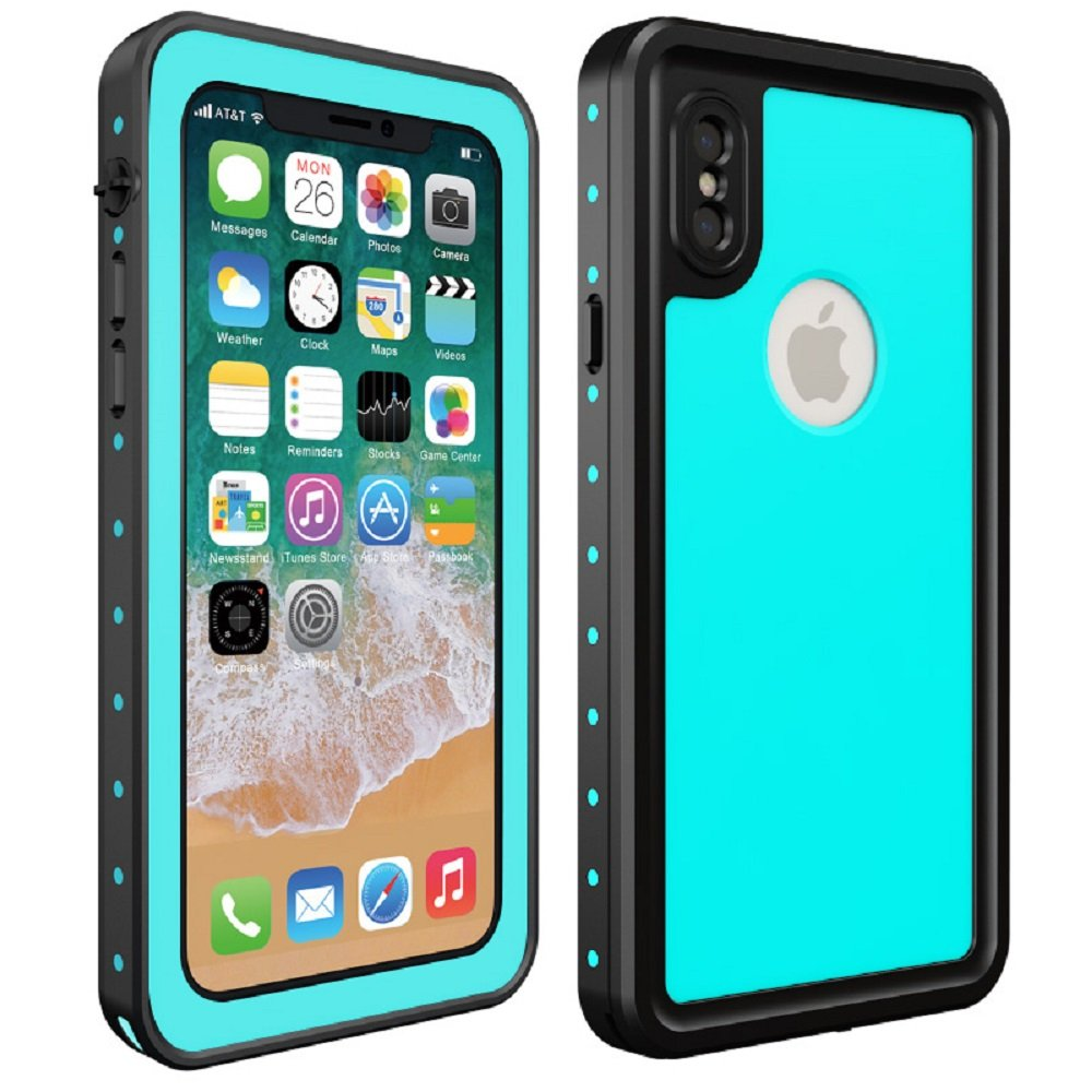 ZOYOL Ultra-Thin Full Body Protective Dustproof Snowproof Shockproof Underwater IP68 Certified Waterproof Case with Built-in Screen Protector Compatible iPhone X