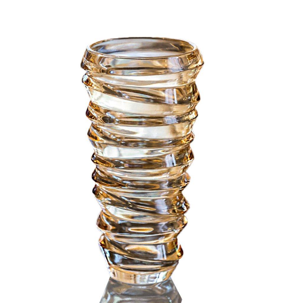 Florero de cristal moderno del estilo europeo, moda espiral de la personalidad Artesanía, decoraciones caseras del color ( Color : Oro )