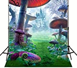5x7ft No Wrinkles Child Photography Background Castle Forest Poisonous Mushrooms Photography Scenic Backdrops
