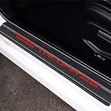 MAXDOOL 4Pcs Toyota Tacoma Door Sill Protector Reflective 4D Carbon Fiber Sticker Decoration Door Entry Guard Door Sill Scuff