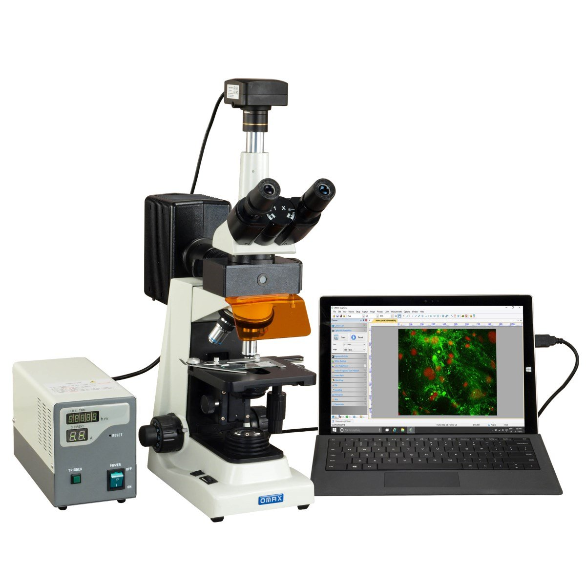 OMAX 40X1600X Professional USB3 10MP Trinocular EPIFluorescence Compound Biological Lab Microscope