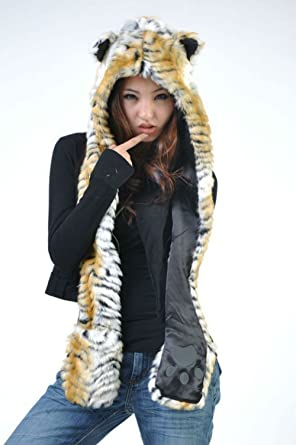 fcaf8cb2735 Tiger Full Animal Hood Hoodie Hat Faux Fur 3 in 1 Function Paw Mittens  Gloves
