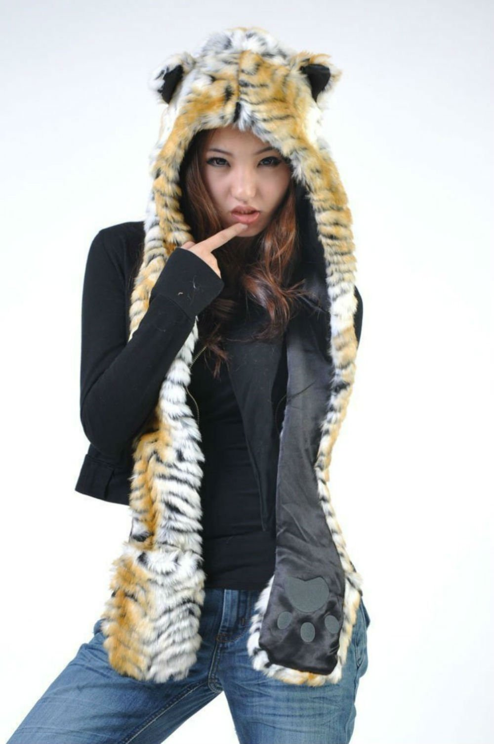 Tiger Full Animal Hood Hoodie Hat Faux Fur 3 in 1 Function Paw Mittens Gloves