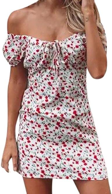 TIFIY Moda 2019 Vestido Casual Corto Mujer Estampado Cuello de una Palabra Moda Delgada Mini Verano Vestido Sexy Mujer Talla Grandes: Amazon.es: Ropa y accesorios