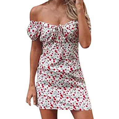 bdc6829118 Sinohomie Women s Bandeau Strapless Floral Print Short Sleeved Mini Dress  Bohemian Beach Cover-up Dress