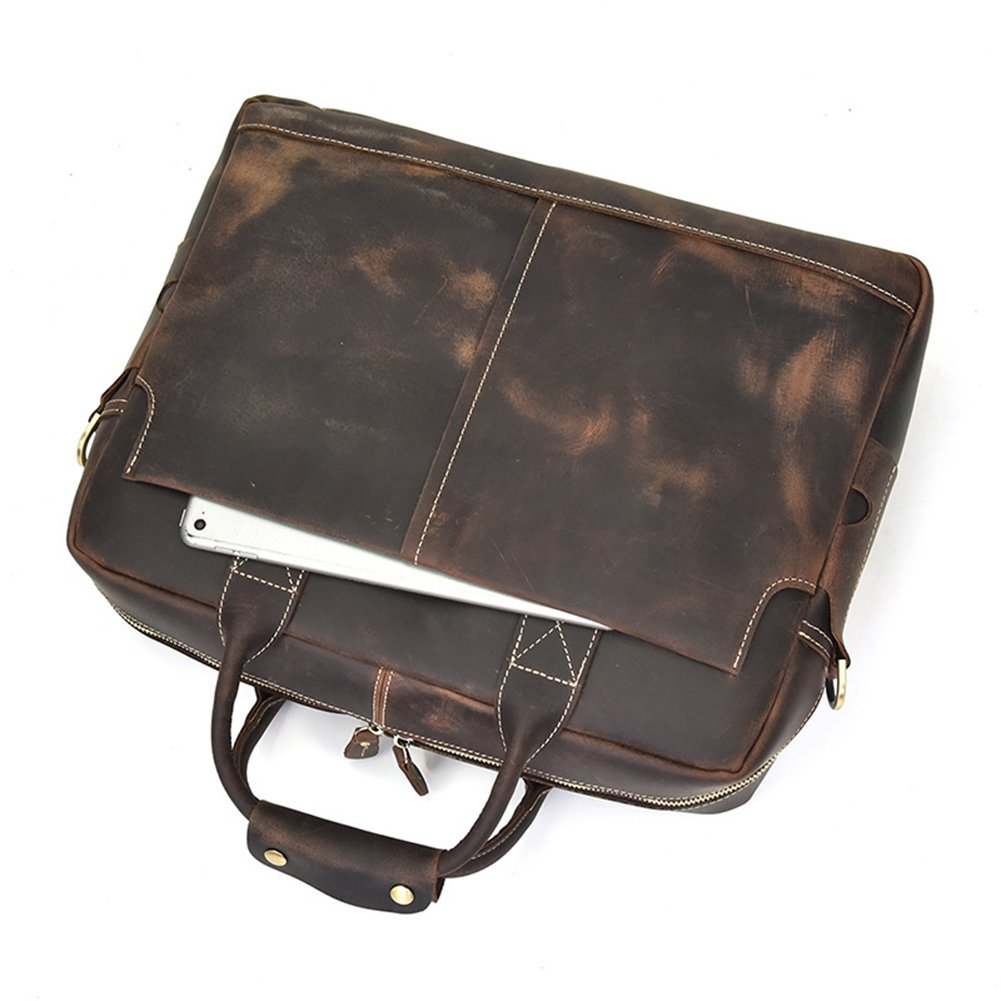 Retro Mans Crazy Horse Leather Briefcase Laptop Messenger Shoulder Travel Bag