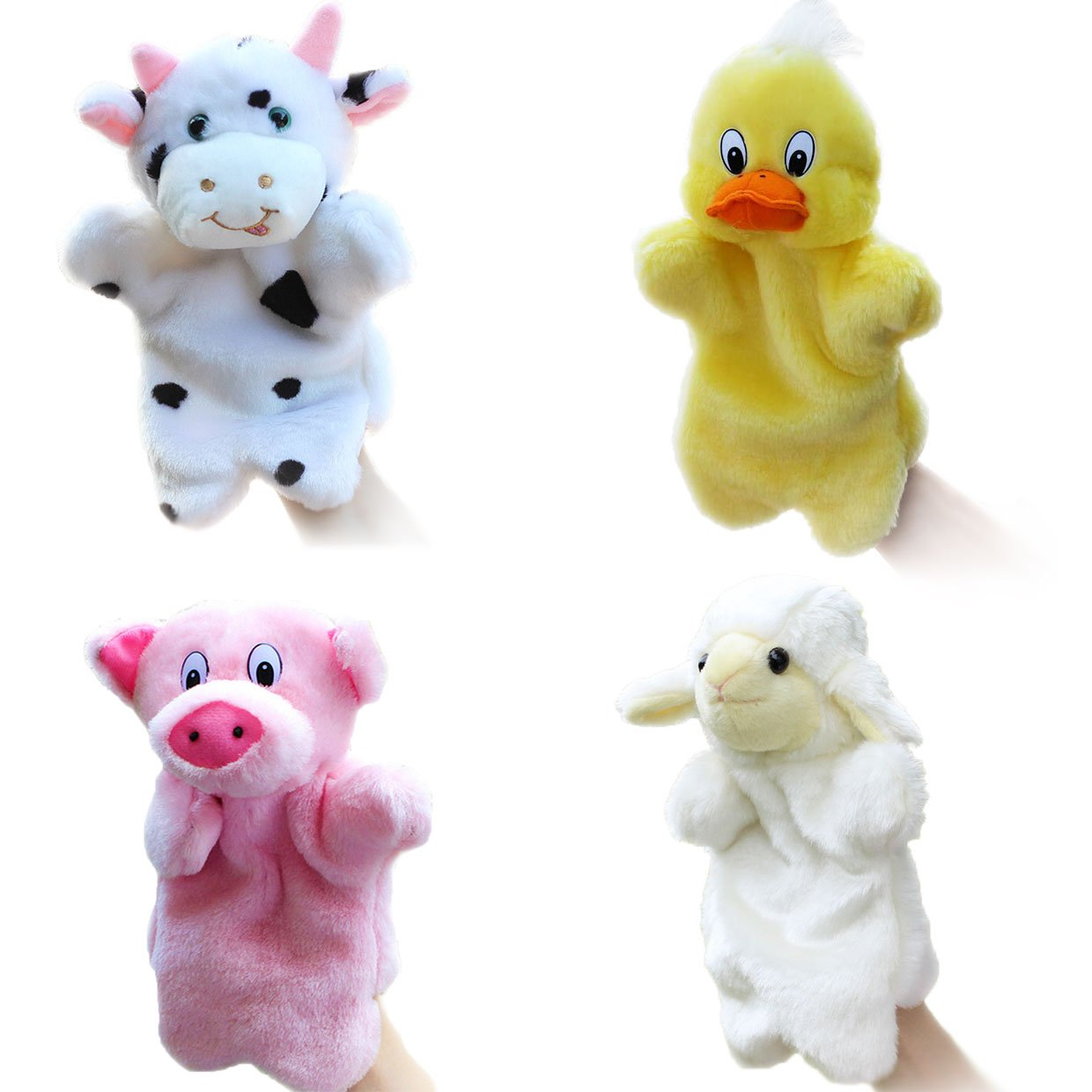 4pcs Glove Puppets Animal Hand Puppets for Kids Plush Toys Storytelling Game Props--Farm Animals