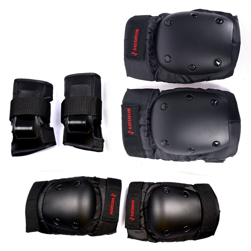 SAYSHUN Protective Gear Sets for Skateboard Cycling Roller Skating Outdoor Sport Blading Knee Elbow Wrist Safety Gear Pad Guard for Youth and Adult (Middle)