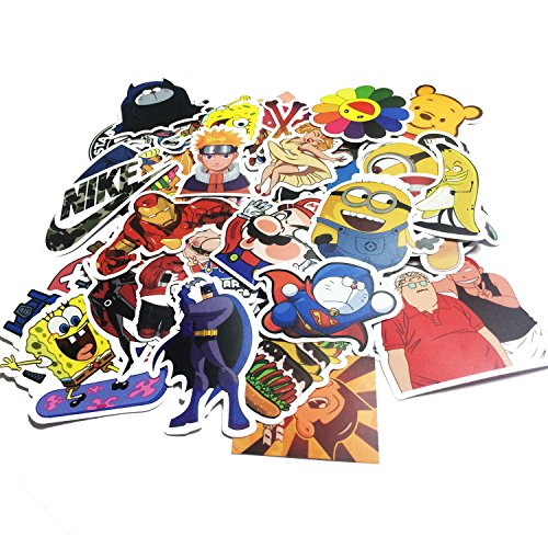 SIX VANKA 200PCS Cool Vinyls Graffiti Stickers to Personalize Laptops, Skateboards, Luggage, Cars, Bumpers, Bikes, Bicycles (Pack of 200