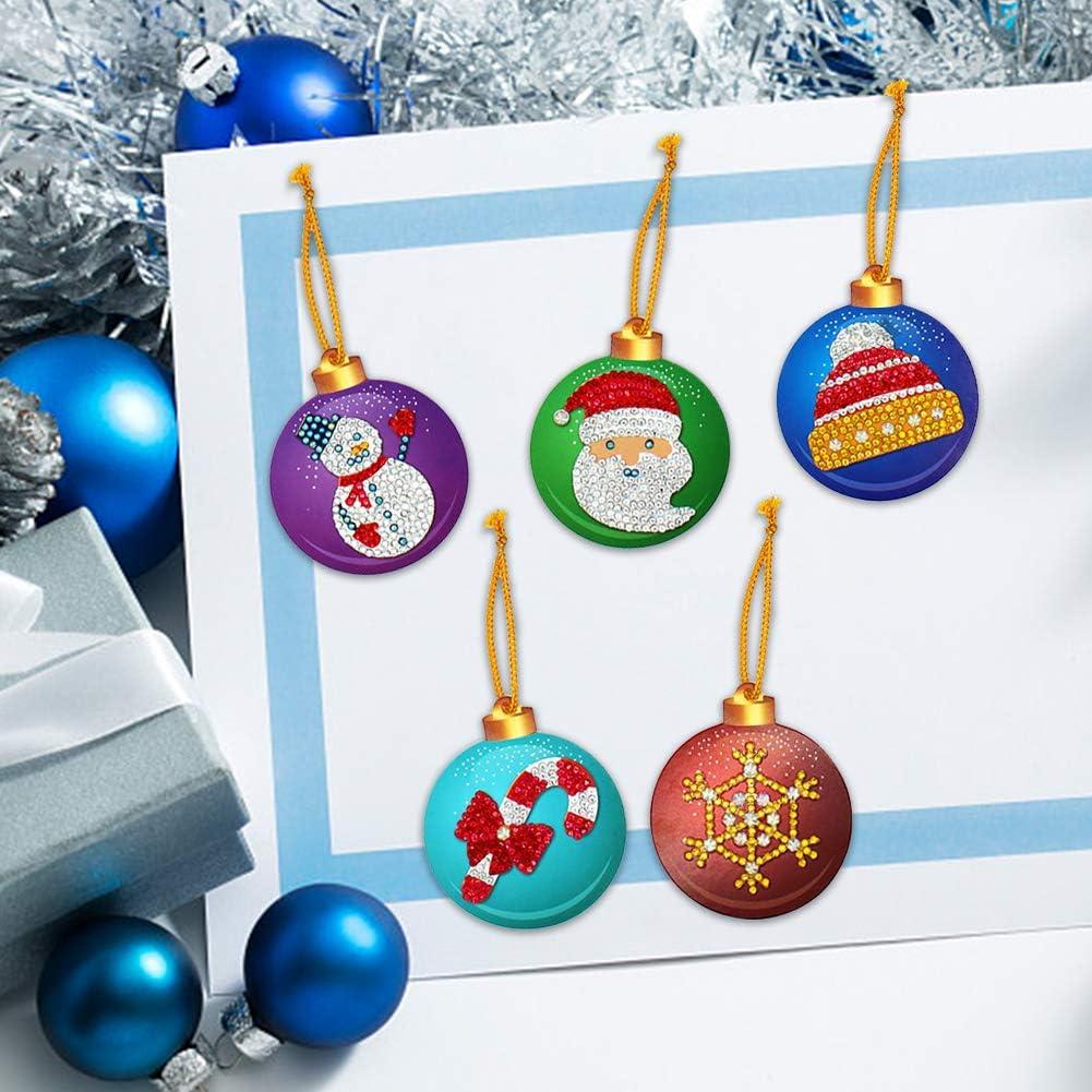 Pendenti per alberi di Natale,20 pezzi Xmas 5D Diamante Pittura Carta per etichette fai-da-te Ornamento di Natale Carta Lable Pittura Appeso Palle Decorazioni per la decorazione dellalbero di Natale