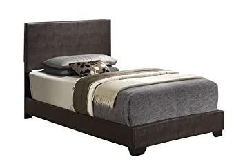 cappuccino twin size modern headboard leather look upholstered platform bed