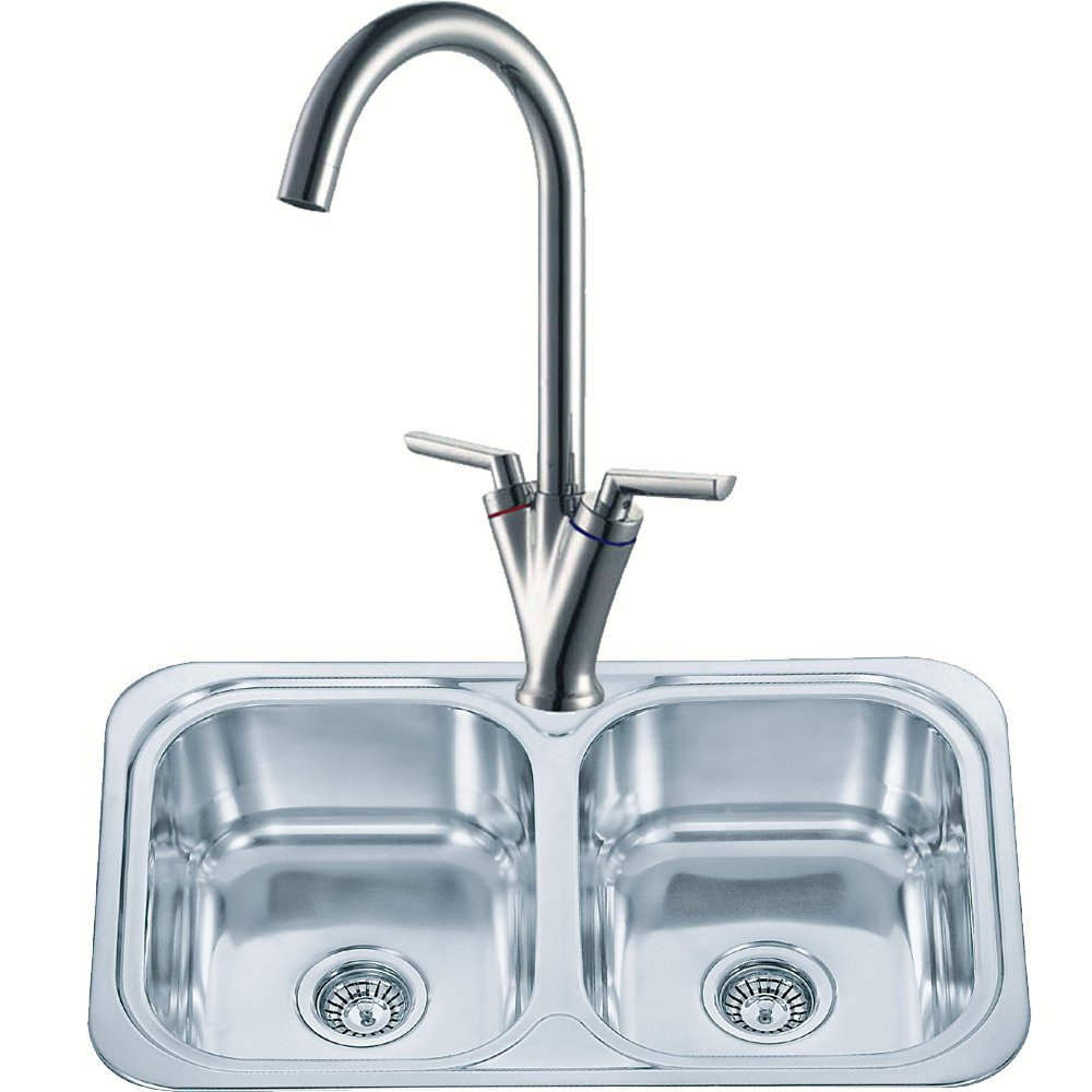 Double Bowl Kitchen Sink And A Mixer Tap Set (pack KST103): Amazon ...