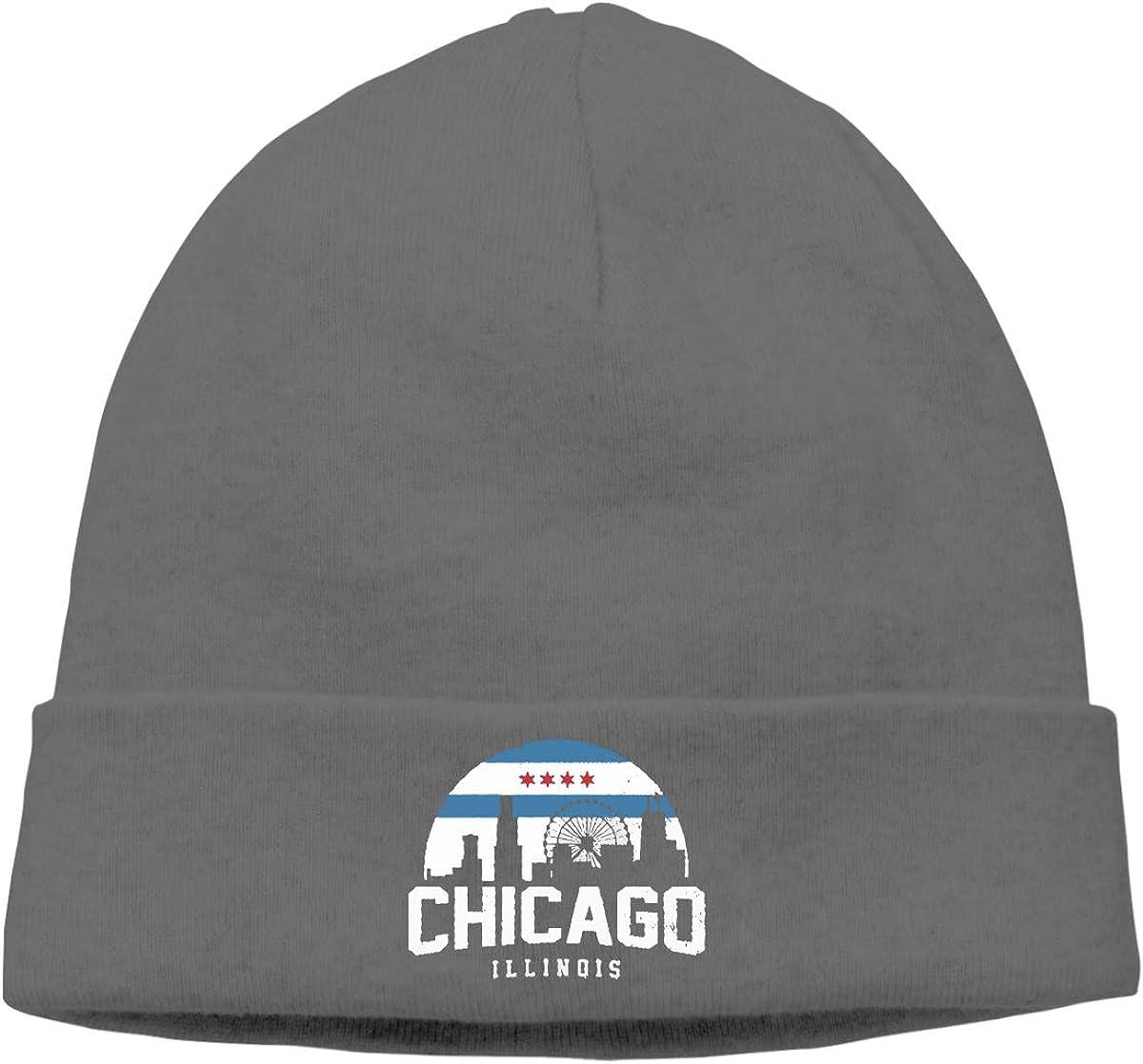 BBlooobow Men Women Chicago City Flag Skyline USA Soft Skull Beanie Cap