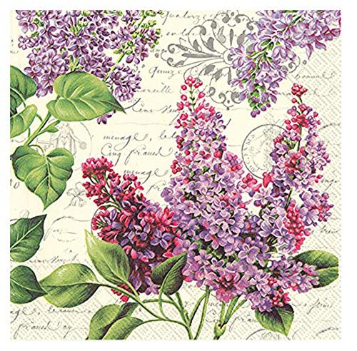 Mesafina Lilac Letter Cocktail Beverage Paper Napkins, Cream, 40 ct ()