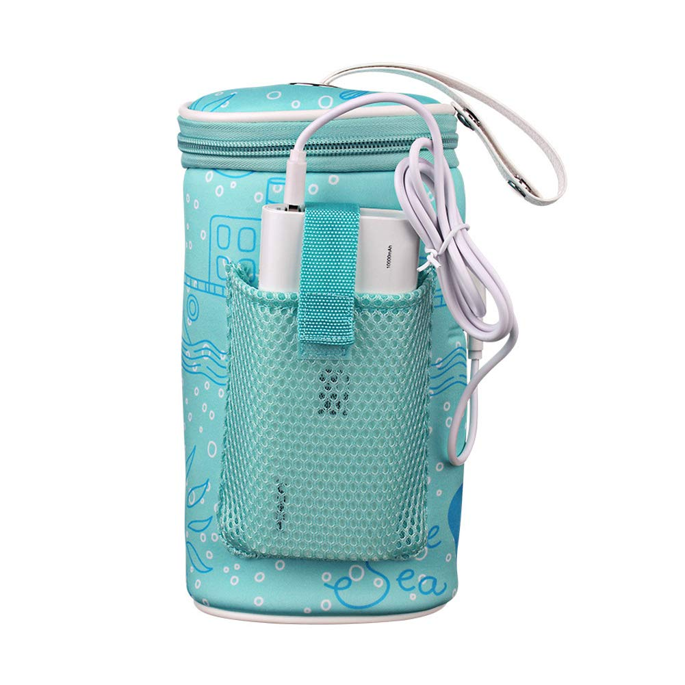 Baby Bottle Warmer Bag Portable USB Heating Breast Milk Warmer Bag Insulated Baby Bottle Tote Bag for Travelling by Leiyini