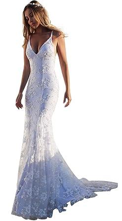 38573b9b23ac AnnaApparel Womens Wedding Dress Lace Tulle Bridal Dresses Mermaid Beach  Wedding Gown A line Party Dress