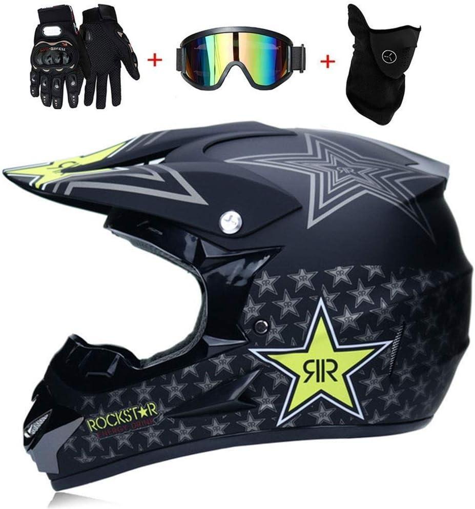 DOT Certified with Goggles Gloves Mask Crash Helmet Motocross Helmet Set Lightweight Outdoor Unisex Racing Off Road Dirt Bike All-Around Helmet