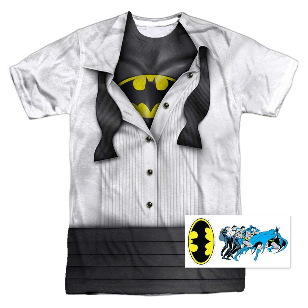 f92ea778 Amazon.com: DC Comics Adult Superhero Costume T Shirt I'm Superman, Batman,  The Flash & Wonder Woman w/Stickers: Clothing