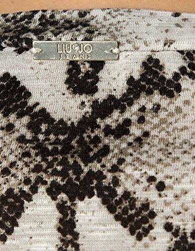 LIU JO Damen T-Shirt Viskose Shortsleeve Gemustert, Größe: L, Farbe: Schwarz