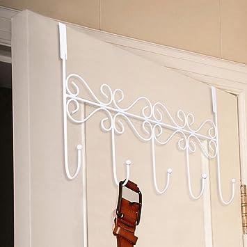 F-fook Moda sopra la puerta hierro 5 ganchos llar ropa abrigo pared armario perchero (blanco): Amazon.es: Hogar